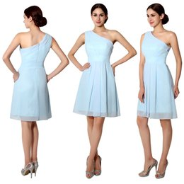Wholesale 2015 Light Sky Blue Knee Length Bridesmaid Dresses A Line One Shoulder Zipper Chiffon Short Prom Party Gowns Cheap Under In Stock SQS014