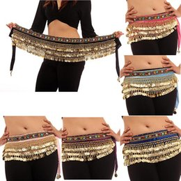 Wholesale Belly Dance Costumes Coins Velvet Hip Scarf Wrap Belt Women Skirt Dancewear Free DropShipping