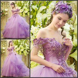 Wholesale 2015 Quinceanera Dress Off shoulder Cap Sleeve Sexy Beading Fluffy Ball Party Prom Dresses Custom Made Court Train Pure Tulle Princess Cheap