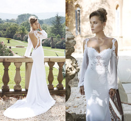 2017 pictures white beach wedding dresses Long Sleeves Julie Vino 2016 Wedding Dresses Sweetheart Lace Backless Sheath Sweep Train Chiffon White Beach Bridal Gowns Vestido de noiva cheap pictures white beach wedding dresses