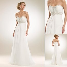 Wholesale 2014 Elegant Sheath Column Sweetheart Wedding Dresses Chiffon Pleats Beading Sash Sweep Train Lace up Sleeveless