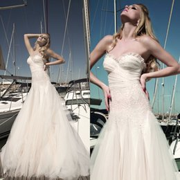 Wholesale Romantic Grecian Wedding Dresses Spring Galia Lahav Beach Dress Sexy Sequined Lace Sweetheart Elegant A Line Tulle Corset Bridal Gowns