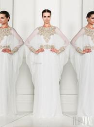 Wholesale 2015 Arabic Dubai Abaya Kaftan White Arrival Zuhair Murad Muslim Dress Poet Long Sleeve With Beaded Chiffon Evening Dresses Formal Gowns