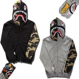 Wholesale Fashion brand mens Clothing BAPE shark Hoodies lovers hoody Sweatshirts jacket Autumn and Winter Black Gray Fleece hoody XY277