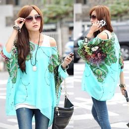 Wholesale Hot womens tops fashion Bohemian Style Batwing Sleeve Chiffon Shirts Tops Oversized Blouses plus size clothing B16 CB018373