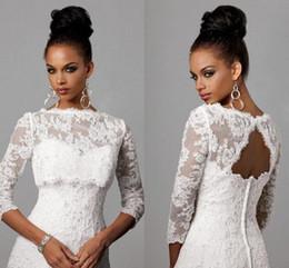Wholesale 2016 Off Shoulder Alencon Lace Bolero Jacket Illusion Half Sleeve Covered Button Jackets Bridal Shrug Bride Wraps Wedding Dress CPA325