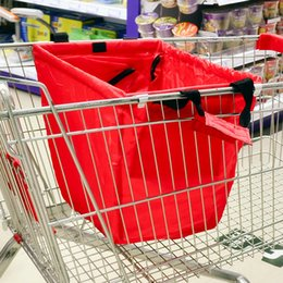 Wholesale SMILE MARKET Large capacity Foldable Trolley Supermarket Green Shopping Bag