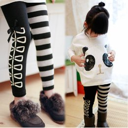 Wholesale autumn Kids pants Child trousers Toddlers Girls Classical Black White striped Leggings Cotton Stretch Skinny Pants tights ages NO387