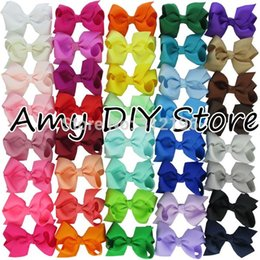 Wholesale Colors Baby Girl Grosgrain Ribbon Hair Bows With Alligator Clips Boutique Hairclips Hair Accesories