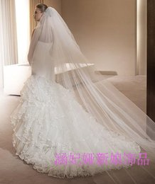 Wholesale White Ivory Romantic Long Bridal Veils m Two Layers High Quality Wedding Veils Tulle Chapel Train New Cheapest Veils WZ