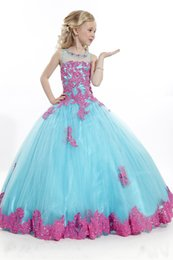 Wholesale Pageant Dresses For Teens Ball Gown Tulle Appliques Lace Flower Girls Gowns Pink And Sky Blue Colors Little Girl Party Dress