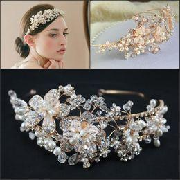 Wholesale 2015 Gold Vintage Bridal Jewelry Headpiece Imitation Pearl Hair Accessories Crystal Hair Band headbands Bridal Crown Tiara Wedding Jewlery