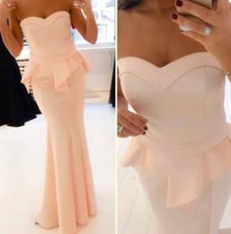 Wholesale Custom Made Sweetheart Satin Peach Mermaid Evening Dresses With Peplum Floor Length Gown Long Prom Party Dress Vestido de festa longo