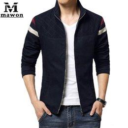 Wholesale Tallas grandes XL estilo británico de los hombres del algodón de la chaqueta del collar del soporte del escudo de primavera para hombre Militar Otoño Chaquetas Jaqueta Masculina MJ234