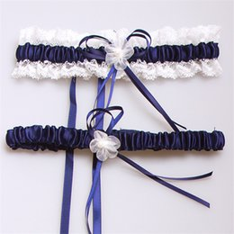 Wholesale Feminine Cheap Pink Purple Ivory Blue Bridal Garters Lace Edge With Pearl Bow Bridal Accessories In Stock