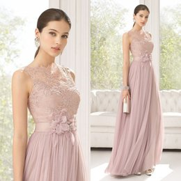 Wholesale 2015 Classic Blush Bateau Sleeveless Lace Top Tulle Floor Length Formal Evening Dresses with Flower Sash Designer Prom Gowns EA0340