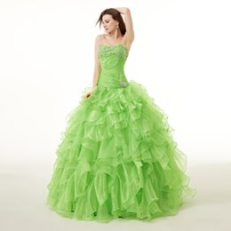 Wholesale 2015 Green Fashion Sweetheart Quinceanera Dresses Ball Gown With Beaded Sequins Prom Gowns Lace Up Floor Length Sweet Dress New Style LQ2