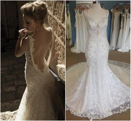Wholesale Backless Galia Lahav Pearls Beads Luxury Mermaid Wedding Dresses Actual Image Spaghetti Strap Vintage Lace Bridal Gown Cathedral Train