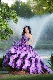 Wholesale Dramatic Vestidos de Debutante New Sweet Dress Purple Ball Gowns Quinceanera Dresses