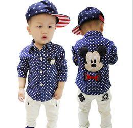 Wholesale 2016 Baby Boys Shirts Long Sleeve Shirt Mickey Mouse Polka Dots Spring Autumn Cotton Shirt Boy Korean Kids Clothes Navy Blue K6165