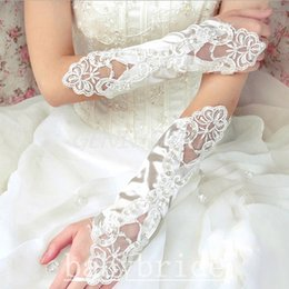 Wholesale 2015 Hot Sales Long Bridal Gloves With Beads Appliques Wedding Gloves Cheap In Stock Bridal Accessories