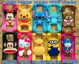 Wholesale Universal Silicone Bumper Frame Cartoon Character Case Mickey Bear Stitch Monster Doll for iPhone s Samsung s6 HTC LG Sony Nokia