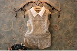Wholesale New summer kids suit girl set fashion High quality baby girl lace tops pants children clothing YA45