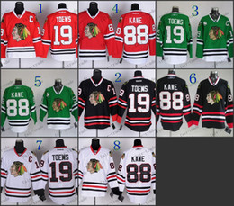 Barato # 19 Jonathan Toews 88 Patrick Kane Chicago Blackhawks NHL Hockey Inicio Red Road Blanco Negro Verde Hombres Deportes cosido jerseys de China