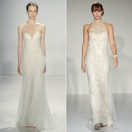 Wholesale 2015 New Halter V Neck Sheath Wedding Dresses Sheer Lace And Satin Crrstal Beaded Long Hollow Garden Wedding Dress Good Quality