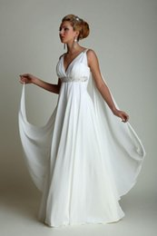 Wholesale Wedding Dresses with Watteau Train Sexy V neck Chiffon Grecian Plus Size Beach Maternity Wedding Gowns with Empire Waist Beaded Bridal Dress