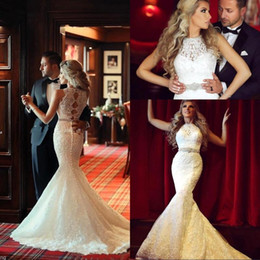 Wholesale Vestido Stunning Arabic Mermaid Lace Wedding Dresses with High Neck Beading Sash Custom Bridal Gowns Covered Button Real Image