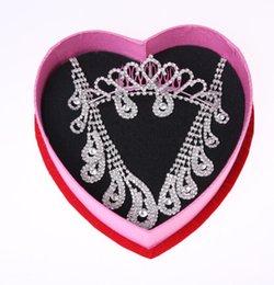 Wholesale 1 Set Wedding Jewelry Set Rhinestone Necklace Earrings Jewelry Set Wedding Tiara Cheap In Stock