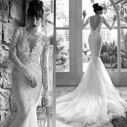 Wholesale 2015 Sexy Russian Wedding Dresses Mermaid Long Sleeves V Neck Lace Backless Bridal Gowns Pearls Engagement Dress W3427