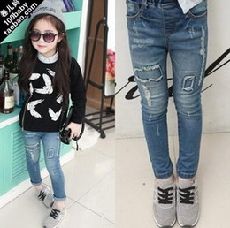 Wholesale Spring new kids pants Patch denim jeans for girls children denim pants leisure fashion style girls trousers T31
