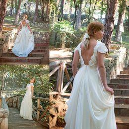 Wholesale Grecian Wedding Dresses Ivory Cream Backless Greek Wedding Gowns Lace and Chiffon Bohemian Bridal Dress Vintage Lace Vestidos de Novia