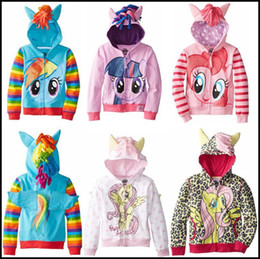 Wholesale 2015 kids my little pony hoodies baby girl ponies hooded clothes girls zipper coat children outwear clothing J081107 C