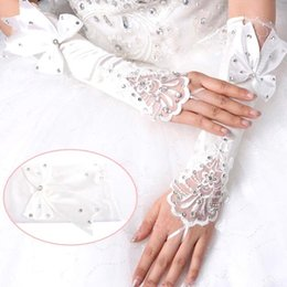 Wholesale 2015 Cheapest Rhinestone Satin Bridal Gloves Beads Fingerless High Quality Elbow Length In Stock Bridal Accessories ICPA243
