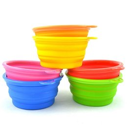 2017 plastic dog bowls wholesale Portable Pet Dog Cat Fashion Silicone Collapsible Feeding Feed Water Feeders Foldable Travel Food Bowls Dish 8 colors Frisbee cheap plastic dog bowls wholesale
