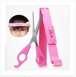 Wholesale With Ruler Cut Bangs Scissors DIY Hair Styling Tools Hairdressing Teeth Scissor Set Cutting Pink HOT SALES