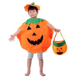Wholesale Performance products Pumpkin shaped jacket with Non woven handbag costume for Halloween Costume and Cosplay