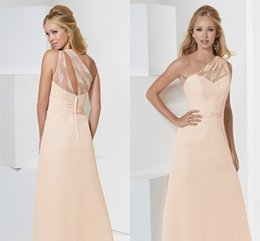 Wholesale 2015 Sexy One Shoulder Evening Dresses A Line Floor Length New Fashion Elegant Cheap Price For Wedding Party Dress Free Custom Made Gown