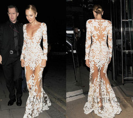 Wholesale 2015 New Collection Zuhair Murad Evening Dresses Illusion Lace Long Sleeve Sexy See Through Lace Formal Dress lace Celebrity Dresses