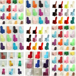 Wholesale 2015 Many Colors New Universal White Polyester Spandex Wedding Chair Covers for Weddings Banquet Folding Hotel Decoration Decor