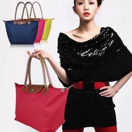 2017 deep shop Long Faux leather Handle Tote Shopping Bag Nylon WaterProof Colorful Handbag deep shop on sale