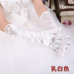 Wholesale 2014 Custom Floral Wedding Party Fingners Lace Satin Bridal Gloves Below the elbow Bow Wedding Bridal Gloves For Women Accessories