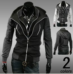 Wholesale Spring season Korean Slim jacket hit the color fake two Hoodies Sweatshirts Men Zipper cardigan Coat black male Sweatshirts