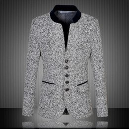 Wholesale High Quality New Arrival Chinese Blazer Men Stand Collar Men s Suit Jacket Fashion Blazer For Men Slim Fit Jacket Plus Size XL XL