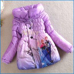 Wholesale Frozen Elsa Anna Down Winter Coat Kids Thick Long Cotton Padded Clothes Jacket Coat Outwear Frozen Clothing colors