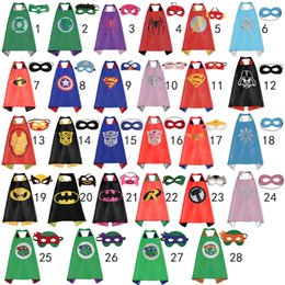 Wholesale New Party Supplies Double Side kids Superhero Capes for kids Superman Batman Spiderman Ninja Turtles Supergirl kids capes with mask