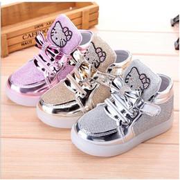 Wholesale Chaussures enfants enfants éclairé chaussures décontractées haute rhinestone bonjour Kitty chaussures pour filles chaussures de voyage de maille chaussures filles